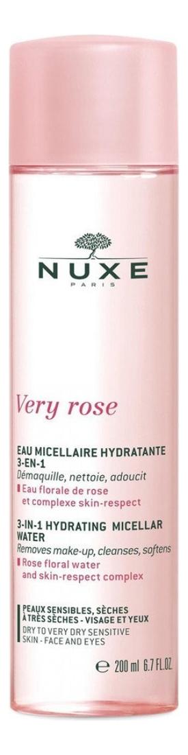 Увлажняющая мицеллярная вода для лица и глаз 3 в 1 Very Rose Eau Micellaire Hydratante: Мицеллярная вода 200мл мицеллярная вода для снятия макияжа vinoclean eau micellaire demaquillant 200мл