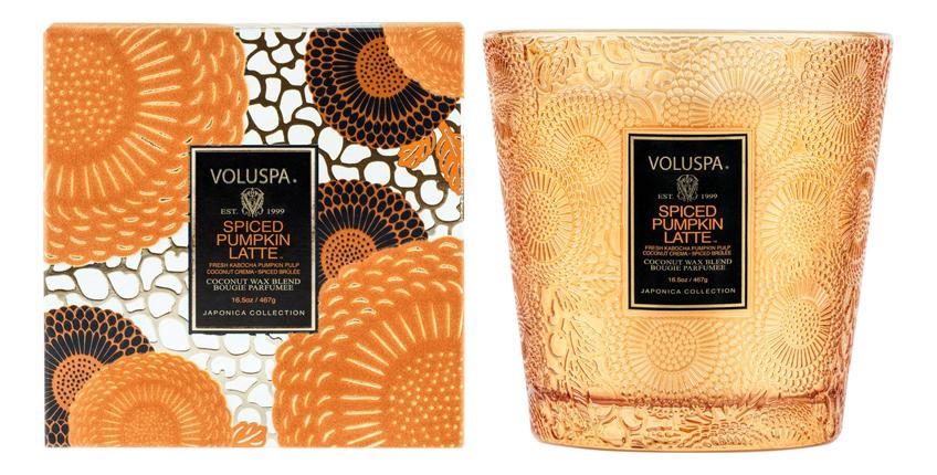 Купить Ароматическая свеча Spiced Pumpkin Latte (пряности, тыква, латте): свеча в подсвечнике с 2 фитилями 467г, VOLUSPA
