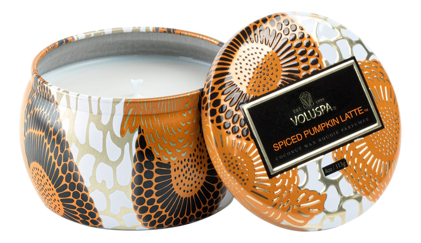 Купить Ароматическая свеча Spiced Pumpkin Latte (пряности, тыква, латте): свеча в декоративном подсвечнике 113г, VOLUSPA