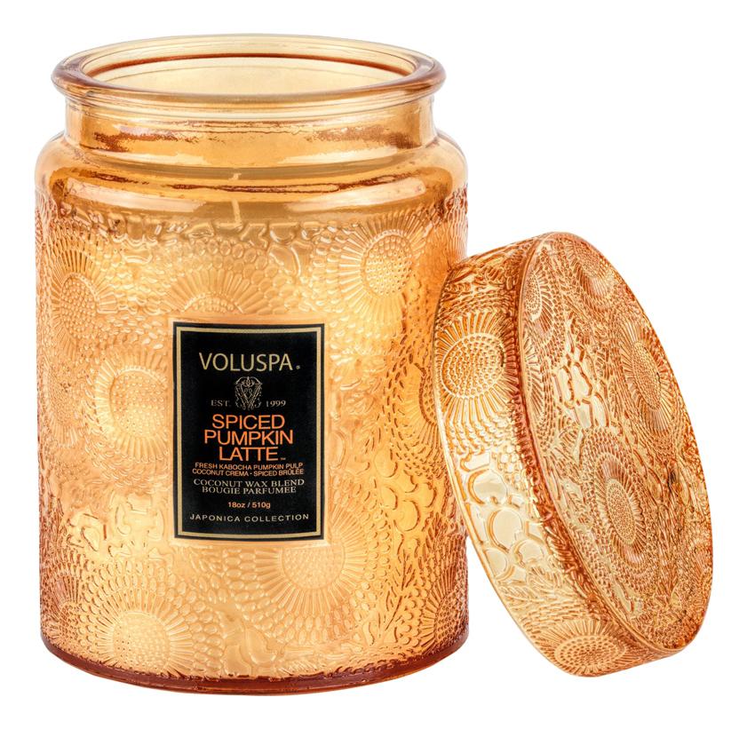 Купить Ароматическая свеча Spiced Pumpkin Latte (пряности, тыква, латте): свеча в стеклянном подсвечнике с крышкой 510г, VOLUSPA