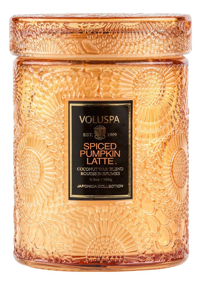 Купить Ароматическая свеча Spiced Pumpkin Latte (пряности, тыква, латте): свеча в маленькой стеклянной банке с крышкой 156г, VOLUSPA