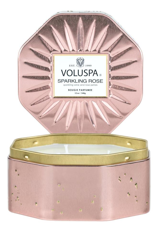 Фото - Ароматическая свеча Sparkling Rose (Игристое розе): свеча с восьмиугольной банке с 3-мя фитилями 340г ароматическая свеча игристое вино свеча 70г