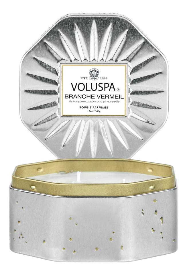 Купить Ароматическая свеча Branche Vermeil (ель и бальзам): свеча с восьмиугольной банке с 3-мя фитилями 340г, VOLUSPA