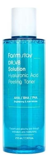 Купить Тонер для лица с гиалуроновой кислотой DR.V8 Solution Hyaluronic Acid Peeling Toner 210мл, Farm Stay
