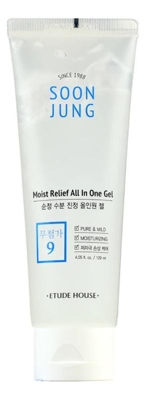 Купить Увлажняющий гель с пантенолом для чувствительной кожи лица Soon Jung Moist Relief All In One Gel 120мл, Etude House