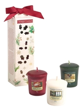 Yankee Candle Набор ароматических свечей Magical Christmas Morning (Singing Carols 49г + Holiday Hearth 49г + Surprise Snowfall 49г)