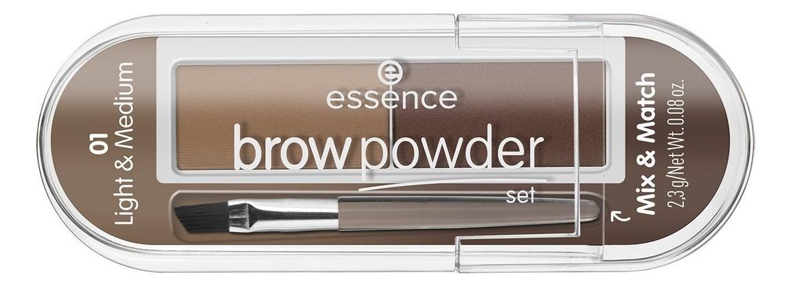 Купить Тени для бровей Brow Powder Set 2, 3г: 01 Light & Medium, essence