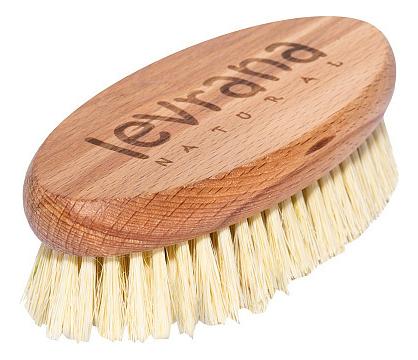 Купить Деревянная щетка для сухого массажа с натуральным ворсом из мексиканского кактуса, Levrana