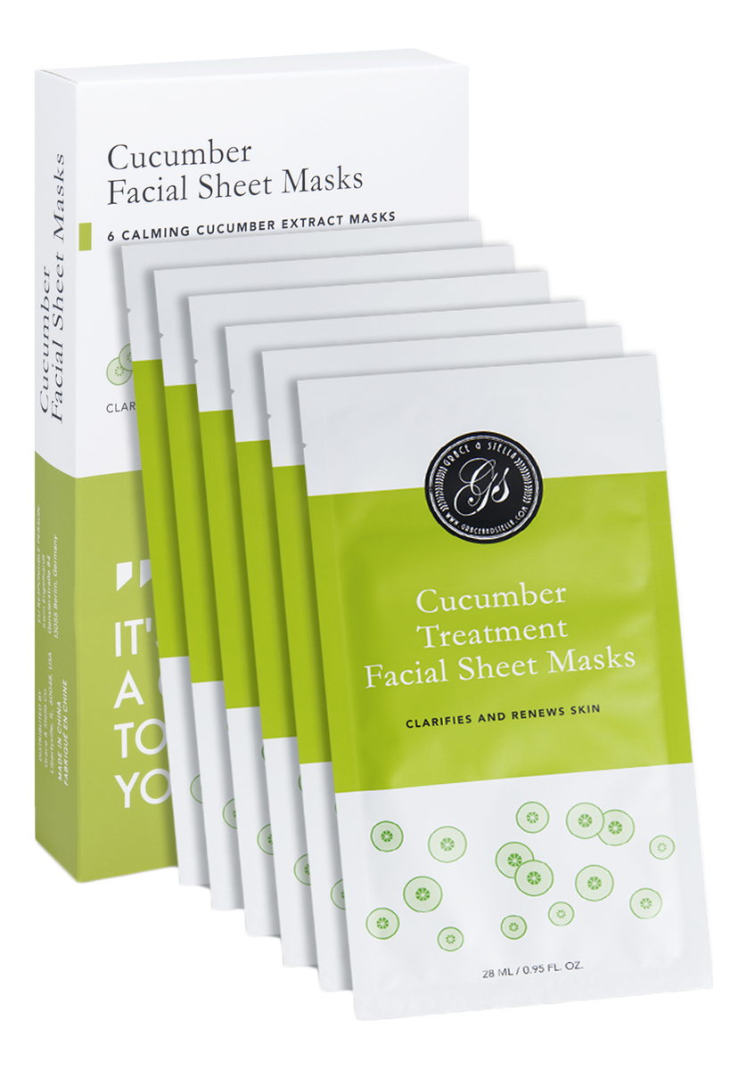 Тканевая маска для лица с экстрактом огурца Cucumber Treatment Facial Sheet Mask 6шт