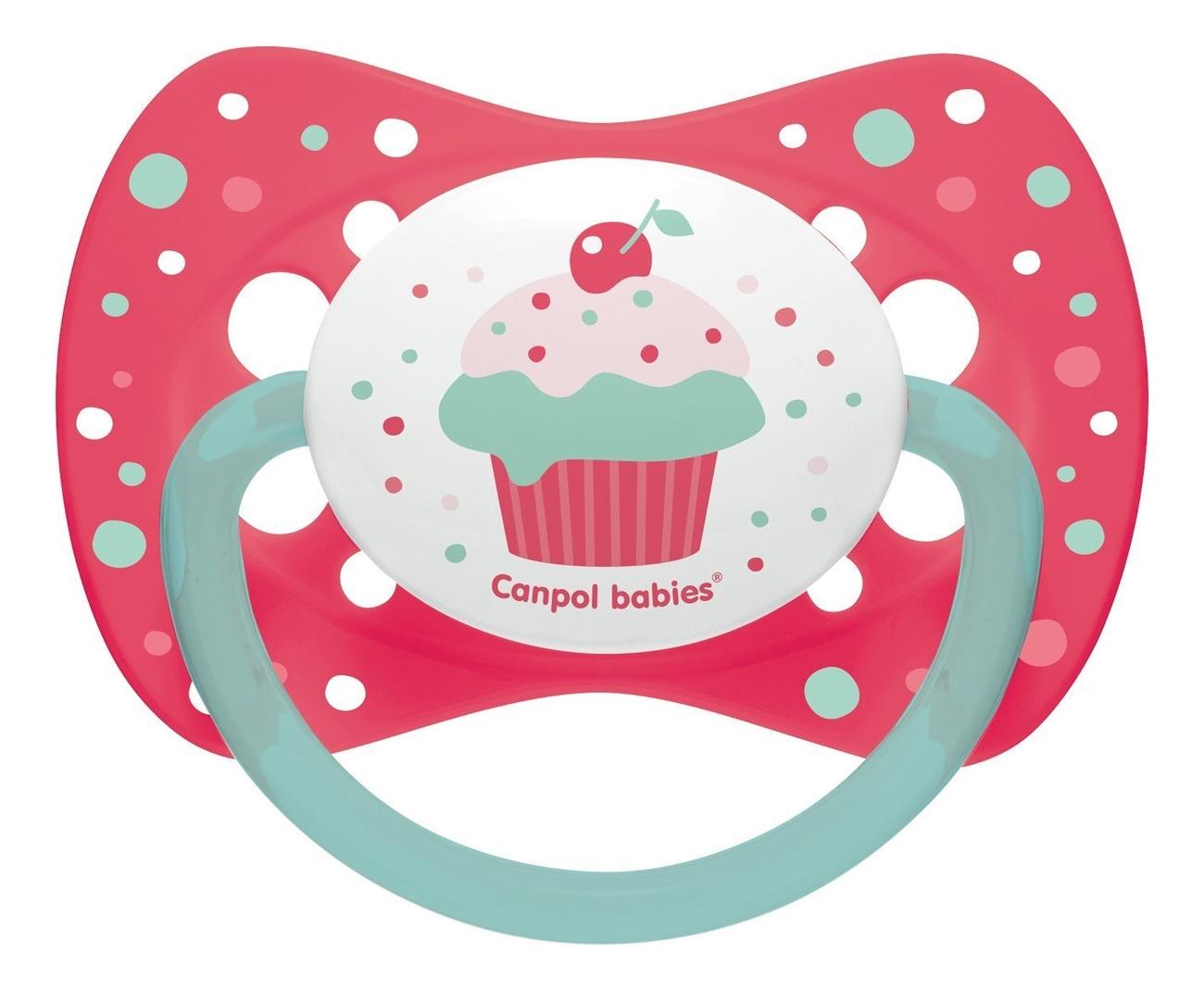 Купить Пустышка симметричная силиконовая 0-6мес Cupcake (розовая), Canpol Babies