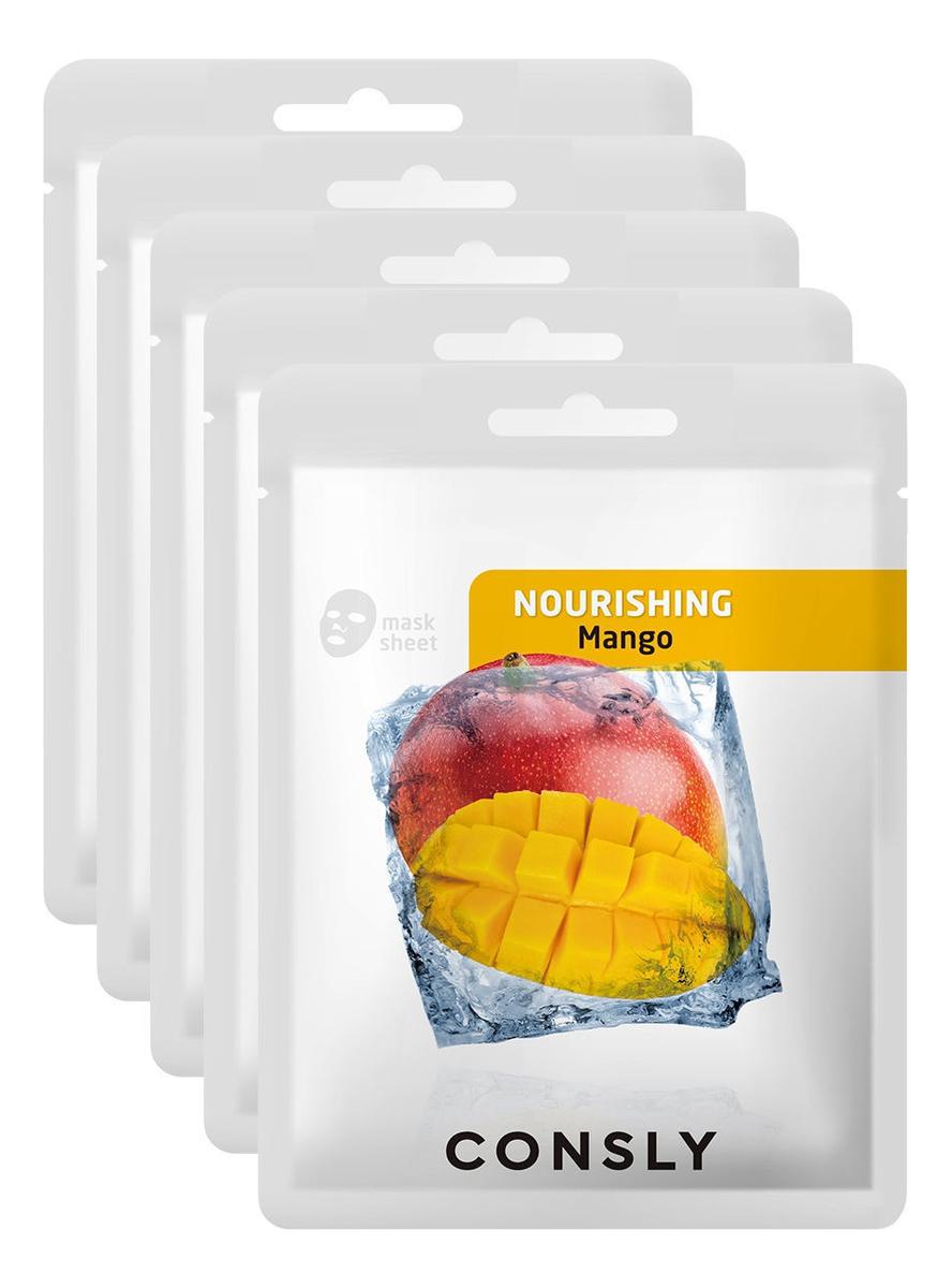 Фото - Питательная тканевая маска для лица с экстрактом манго Mango Nourishing Mask Pack 20мл: Маска 5шт a pieu тканевая маска real big yogurt one bottle mango с экстрактом манго 21 г