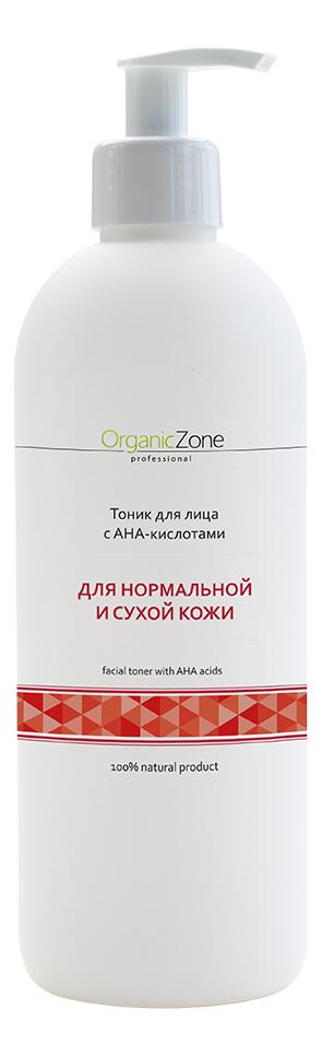 Купить Тоник для нормальной и сухой кожи лица Facial Toner With AHA-Acids: Тоник 500мл, OrganicZone