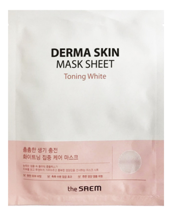 Фото - Тканевая маска для лица Derma Skin Mask Sheet Toning White 28г тканевая маска для лица очищающий уголь skin naturals 28г водоросли
