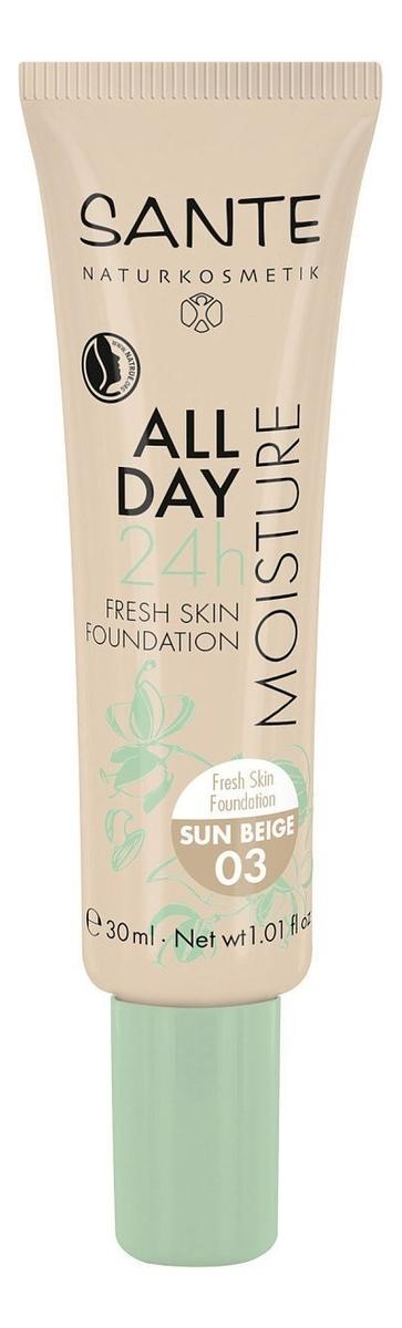 Тональная кремовая увлажняющая основа для лица All Day Moisture 24h Fresh Skin Foundation 30мл: 03 Sun Beige недорого