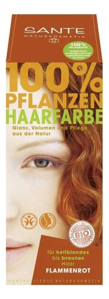 Купить Растительная краска для волос 100% Pflanzen-Haarfarbe 100мл: Flammenrot, Sante