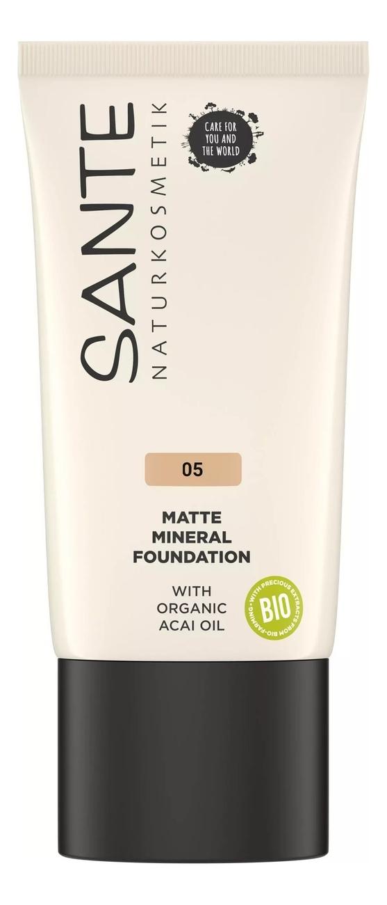 Купить Матирующий тональный минеральный крем для лица Matte Mineral Foundation 30мл: 05 Warm Honey, Sante