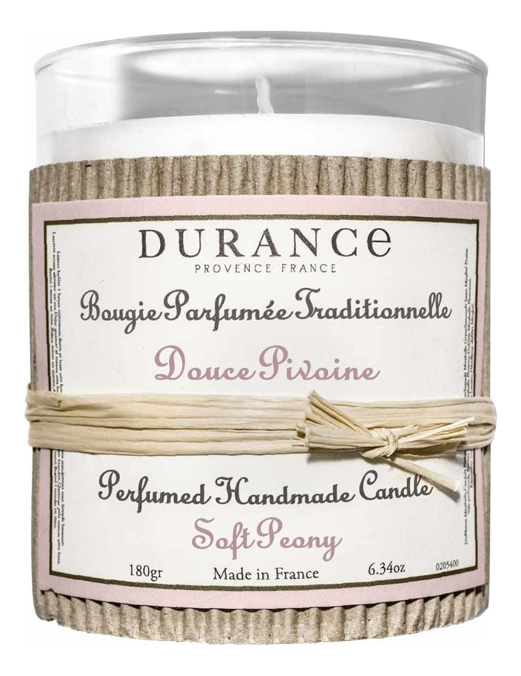 Купить Ароматическая свеча Perfumed Handmade Candle Soft Peony 180г (нежный пион), Durance