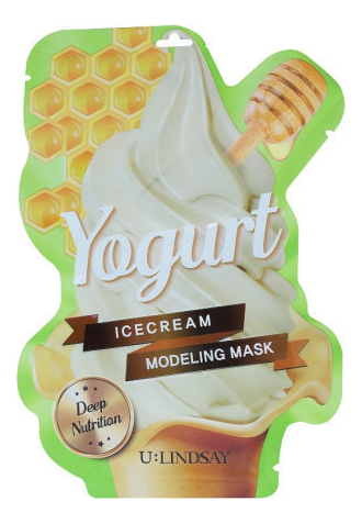 Купить Моделирующая тканевая маска для лица с ароматом йогурта Yogurt Ice Cream Modeling Mask 50г + 5г, Lindsay