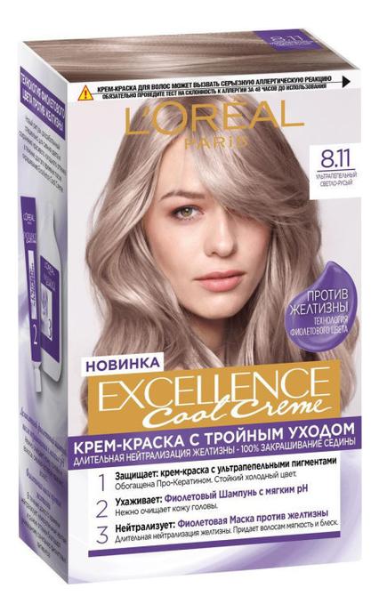 Купить Крем-краска для волос Excellence Creme 192мл: 8.11 Светлый русый, L'oreal