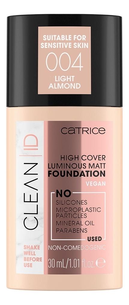 Купить Тональная основа для лица Clean ID High Cover Luminous Matt Foundation: 004 Light Almond, Catrice Cosmetics