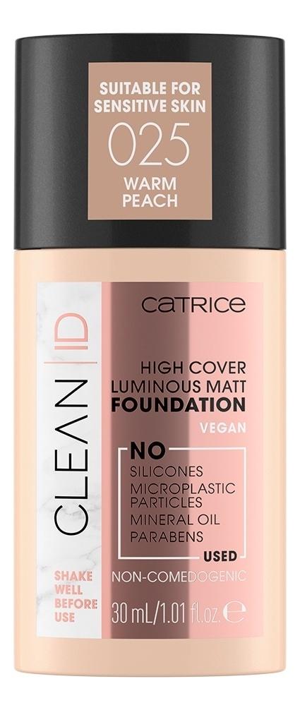 Тональная основа для лица Clean ID High Cover Luminous Matt Foundation: 025 Warm Peach