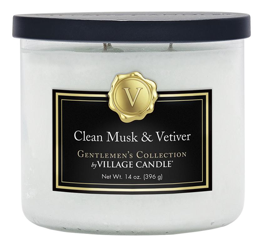 Купить Ароматическая свеча Clean Musk & Vetiver: свеча 396г, Ароматическая свеча Clean Musk & Vetiver, Village Candle