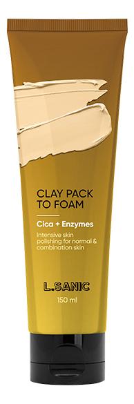 Фото - Глиняная маска-пенка для лица с экстрактом центеллы и энзимами Cica & Enzymes Clay Pack To Foam 150мл глиняная маска пенка для лица с древесным углем charcoal mud pack to foam 7 3мл