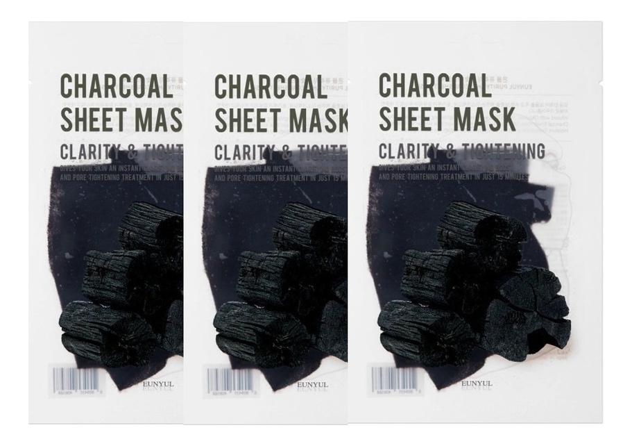 Фото - Тканевая маска для лица с древесным углем Purity Charcoal Sheet Mask 22мл: Маска 3шт глиняная маска пенка для лица с древесным углем charcoal mud pack to foam 7 3мл