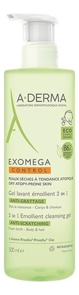 Очищающий гель для тела и волос 2 в 1 Exomega Control Anti-Scratching 500мл