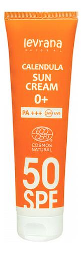 Солнцезащитный крем для лица и тела с гидролатом календулы Calendula Sun Cream 0+ 100мл: Крем SPF50+ PA+++ питательный солнцезащитный крем комфорт для лица sun secure invisible finish comfort cream spf50 50мл