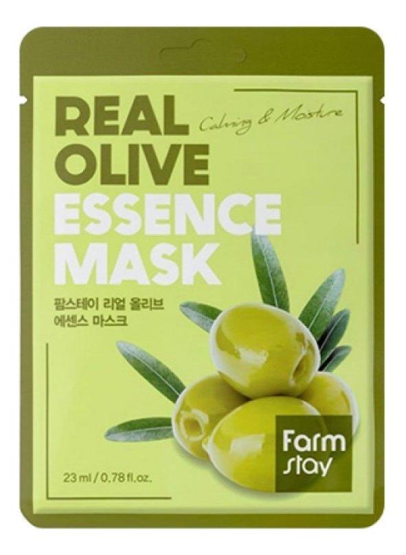 Купить Тканевая маска с экстрактом оливы Real Olive Essence Mask 23мл: Маска 3шт, Farm Stay