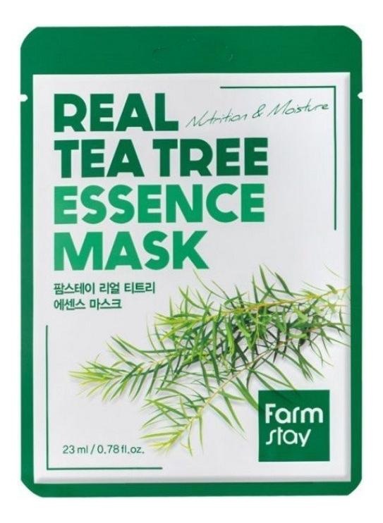 Купить Тканевая маска с экстрактом чайного дерева Real Tea Tree Essence Mask 23мл: Маска 5шт, Farm Stay