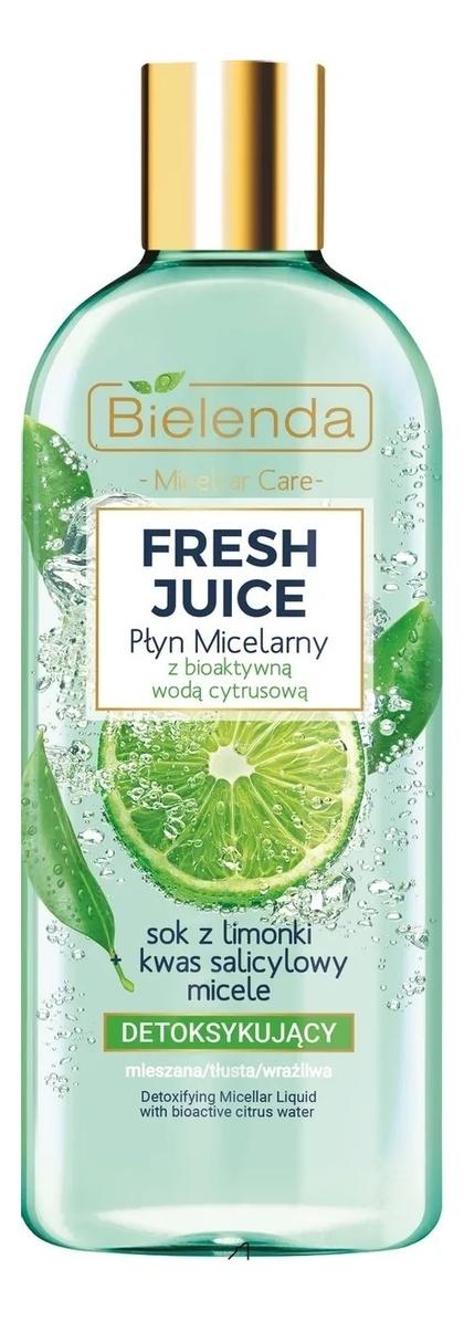 Купить Детоксифицирующая мицеллярная вода для лица Fresh Juice Detoxifying Micellar Liquid With Bioactive Citrus Water: Мицеллярная вода 500мл, Bielenda