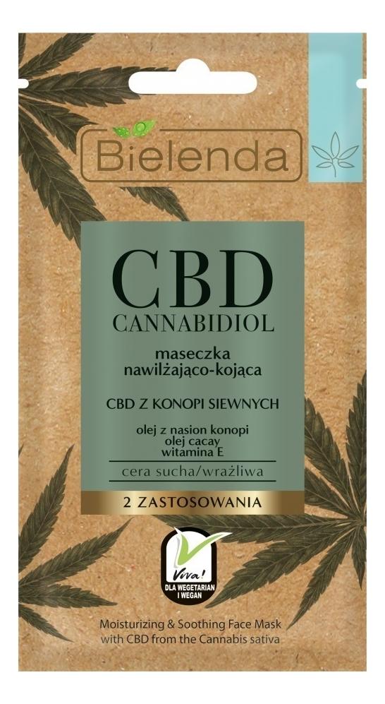 Увлажняющая и успокаивающая маска для лица с экстрактом семян конопли CBD Cannabidiol 18мл, Bielenda  - Купить