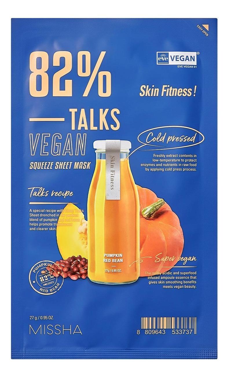 Купить Восстанавливающая тканевая маска для лица Talks Vegan Squeeze Sheet Mask Skin Fitness 27г, Missha
