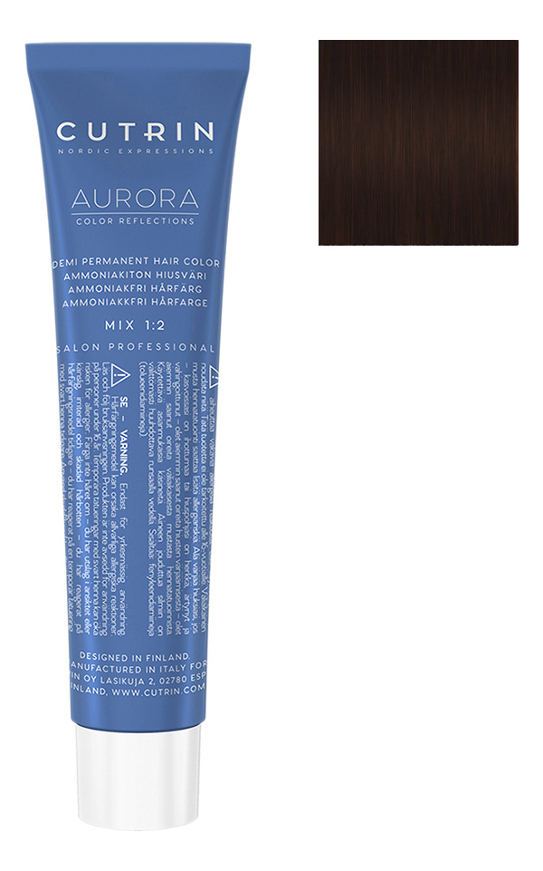 Купить Безаммиачный краситель для волос Aurora Demi Permanent Hair Color 60мл: 8.74 Карамель, CUTRIN