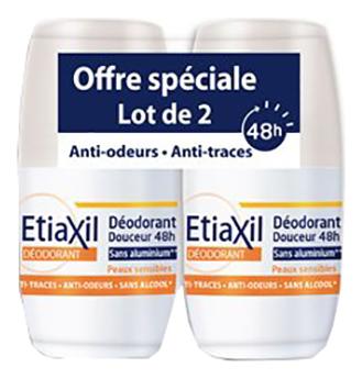 Купить Роликовый дезодорант для без солей алюминия Deodorant Douceur 48h Aisselles Peaux Sensibles: Дезодорант 2*50мл, Etiaxil