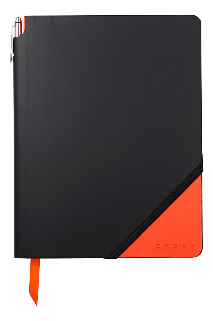 Записная книжка Jot Zone A4 (160 страниц в линейку + ручка) черно-оранжевая