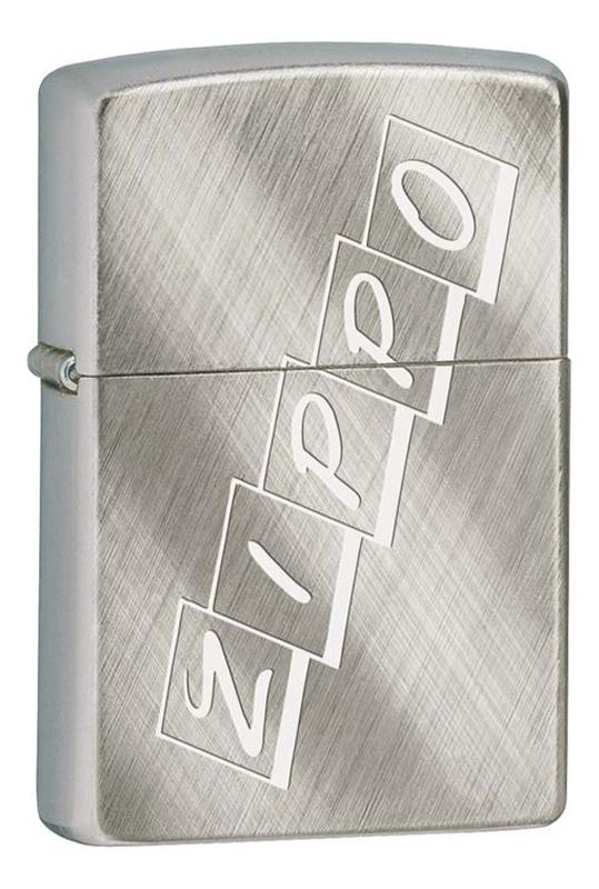 Зажигалка бензиновая Brushed Chrome (серебристая с фирменным логотипом) фото