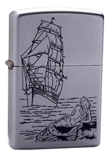 Zippo Зажигалка бензиновая Mermaid (серебристая, матовая)