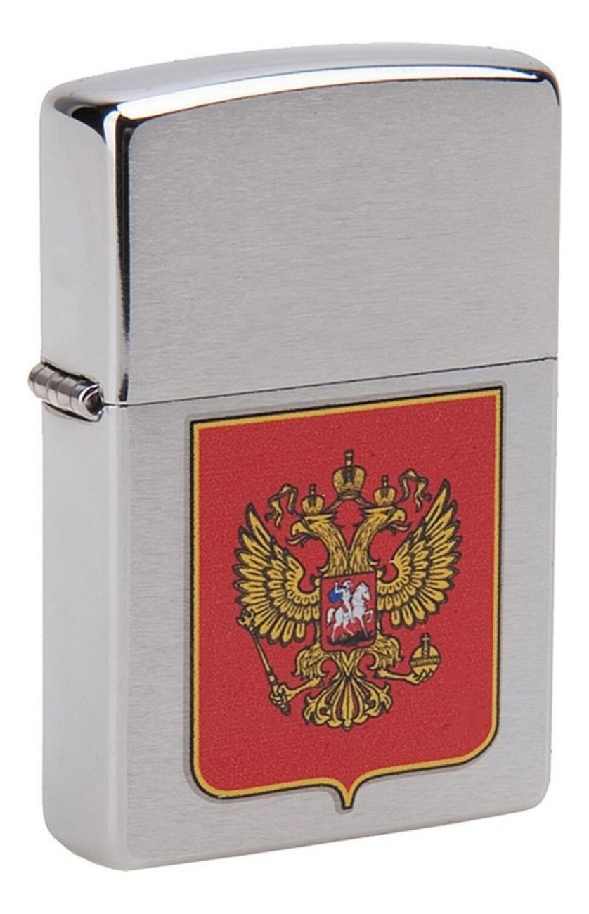 Купить Зажигалка бензиновая Герб России (серебристая, матовая), Zippo