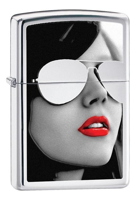 Зажигалка бензиновая Sunglasses High Polish Chrome (серебристая, глянцевая)