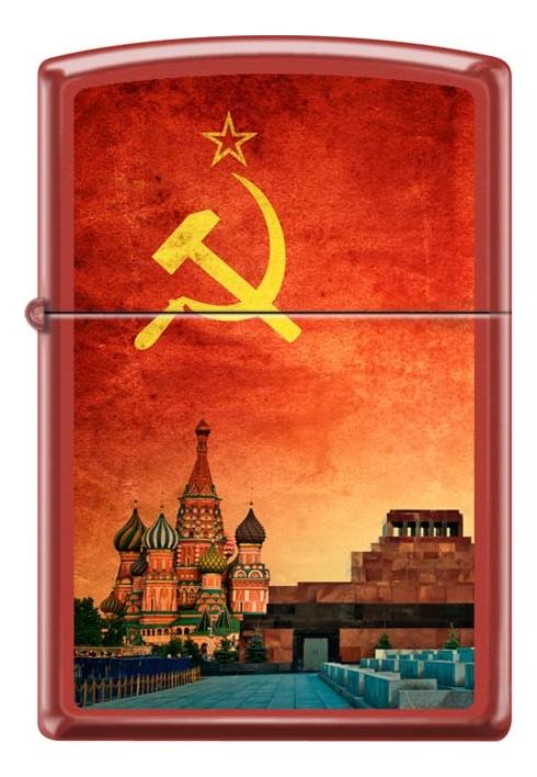 Зажигалка бензиновая Красная Москва (красная, матовая) фото