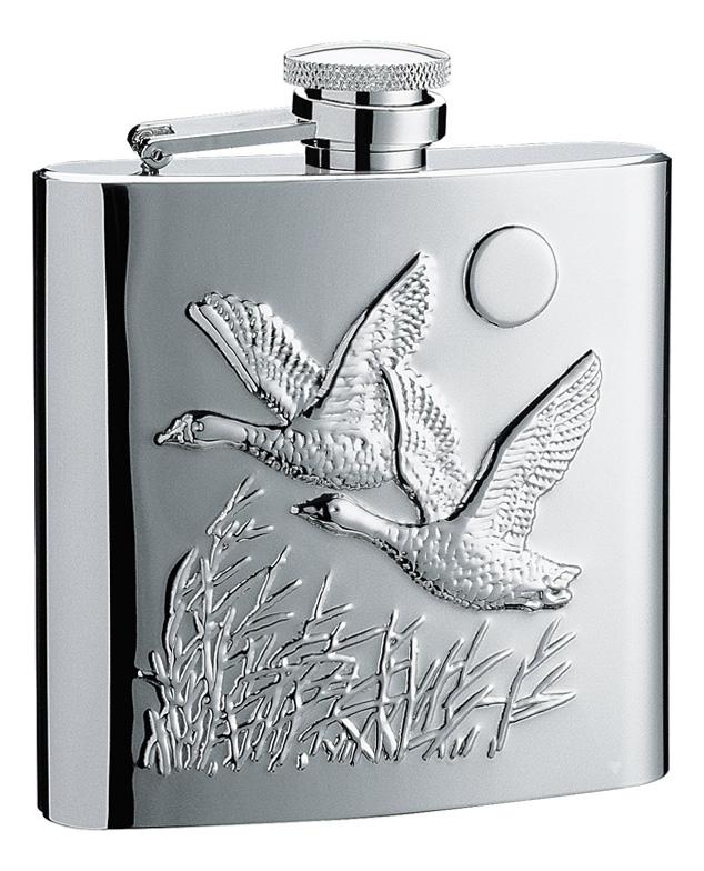 Фляга Птицы 0,24л (серебристая с рисунком)