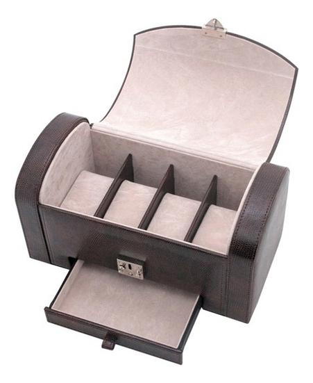 Шкатулка для мужских аксессуаров (коричневая, 4 секции)