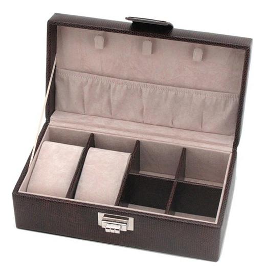 Шкатулка для мужских аксессуаров (коричневая, 6 секций) фото