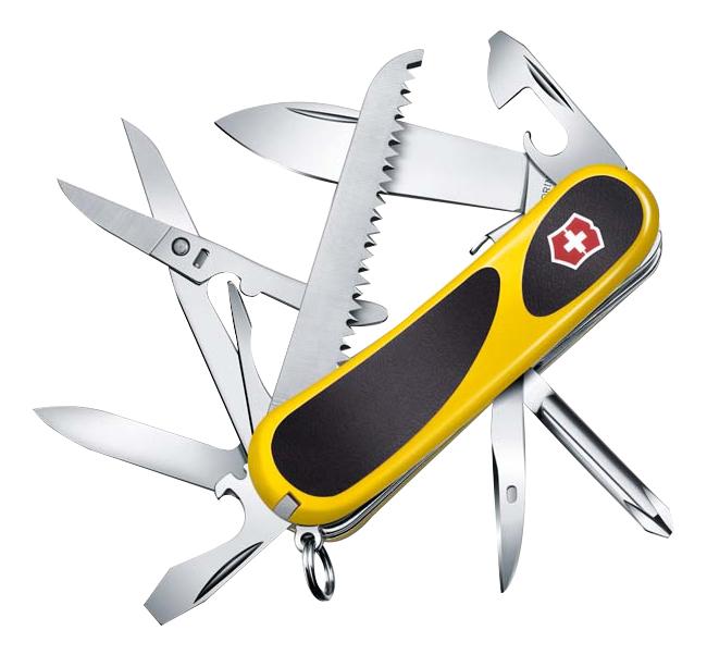 Купить Нож перочинный Evogrip S18 85мм 15 функций с фиксатором (желтый с черными вставками), Victorinox
