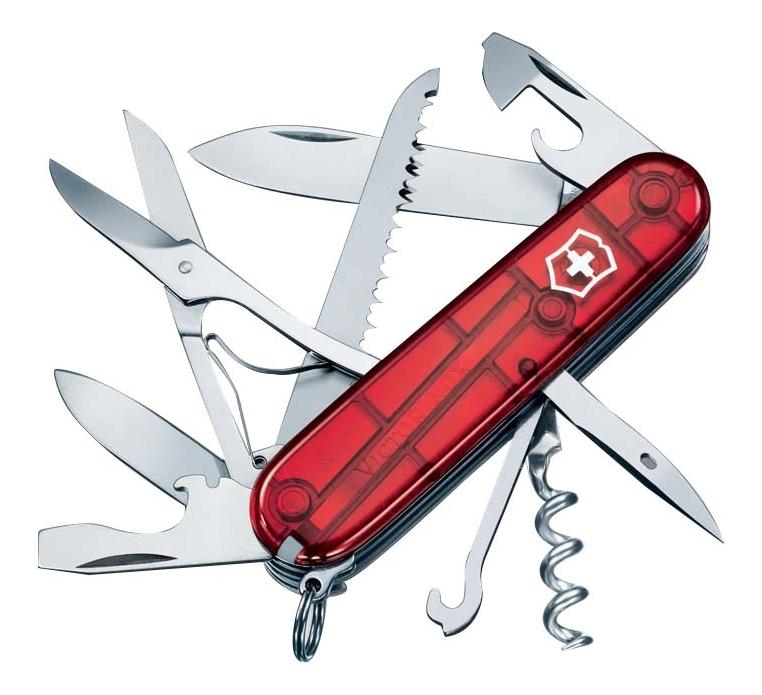Нож перочинный Huntsman 91мм 15 функций (полупрозрачный красный) нож victorinox huntsman 1 3713 3 black