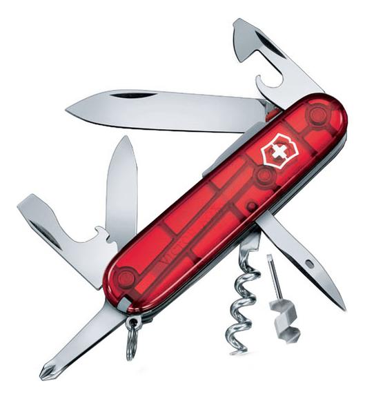 цена на Нож перочинный Spartan Lite 91мм 15 функций (полупрозрачный красный)