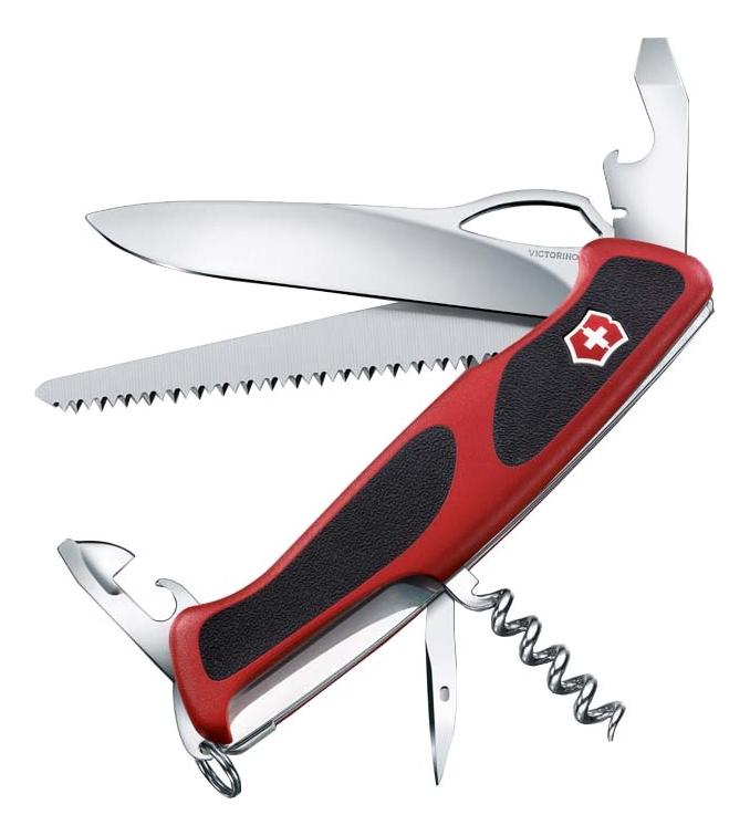 Нож перочинный Rangergrip 79 130мм 12 функций с фиксатором лезвия (красный черным)